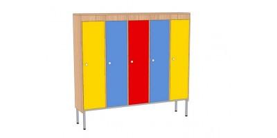 Шкаф для детской одежды, 5-секционный, на мет.каркасе